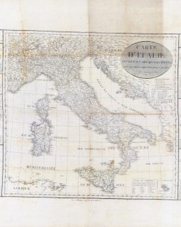 MINEROLOGICAL MAP OF ITALY: Carte D'Italie Divisée en ses Divers états avec les plans des Principales Villes, 1820.