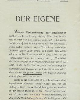 GAY LITERATURE / GERMANY / CENSORSHIP: Konfisziert! Verlagswechsel! Verein! Der Eigene.