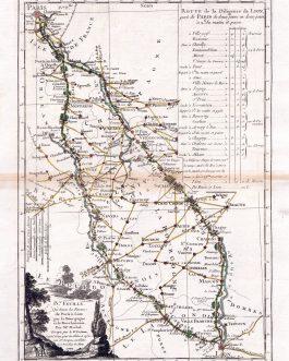FRANCE: IV.e Feuille. Qui donne les Routes de Paris a Lion par la Bourgogne et le Bourbonnois
