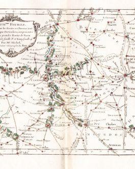 FRANCE: XVII.eme Feuille Qui donne les Routes et Chemins, tant Royaux que Particuliers, compris entre les deux grandes Routes de Paris a Toulouse…