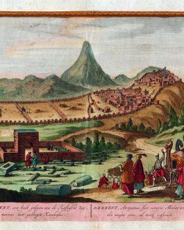 Derbent, een Stadt gelegen aen de Kaspische Zee, nevens het gebergte Kaukasus – Derbent, Astropatiae, Sive minoris Mediae urbs; Alexandri magni opus, ad mare Caspium
