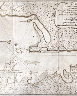 CHILE – Chiloé: Plano de la entrada en el golfo de Chiloé, y Puerto de Chacao, en las costas del Mar del Sur ; cuya latitud austral es de 41 grads. 56 mins. y su longitud contada del meridiano de Tenerife 303 grads. 59 mins. Leventado de orden del Rey Nue