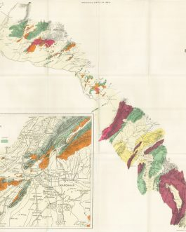 AFGHANISTAN / PAKISTAN: Geological Map of the country between Sibi and Girishk [with] Geological Map of the neighborhood of Kandahar.