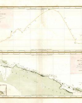CAROLINE ISLANDS / NEW GUINEA: Route de la Corvette l'Astrolabe au travers des Carolines…Avril, Mai, Juin 1828 [with]Carte générale de la côte septentrionale de la Nouvelle Guinée et de la côte meridionale de la Nouvelle Bretagne reconnues par le Cap.ne d