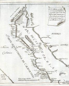 BAJA CALIFORNIA / SONORA, MEXICO: Seno de California, y su costa oriental nuevamente descubierta, y registrada desde el Cabo de las Virgenas, hasta su termino, que es el Rio Colorado año 1747.