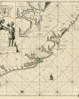 FRENCH GUYANA: Pas-Kaart van de Zee-Kusten van Guiana tusschen Cabo Noord en Rio Amano