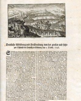 CZECH REPUBLIC / FREDERICK THE GREAT – BATTLE OF LOBOSITZ / LOVOSICE BROADSIDE: Deutliche Abbildung und Beschreibung von der grossen und hitzigen Schlacht bey Lowositz in Böhmen, den 1. Octobr. 1756.