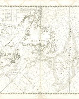 ATLANTIC CANADA: Carte Réduite des Bancs et de l'Ile de Terre Neuve avec les Côtes du Golfe de St. Laurent et de L'Acadie.