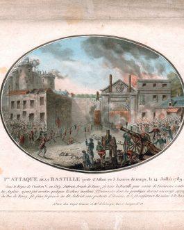 FRENCH REVOLUTION: Iere attaque de la Bastille prise d'assaut en 3. heures de temps, le 14. juillet 1789.