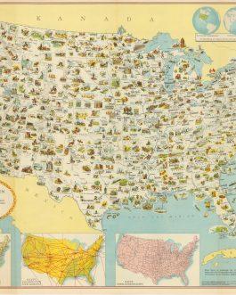 USA – PICTORIAL MAP: Illustrierte Karte der Vereinigten Staaten von Amerika : mit Darstellung der regionalen Bodenschätze, Produkte und landschaftlichen Besonderheiten