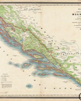 DALMATIA – UNUSUAL PRINTING: Karte des Königreichs Dalamtien.