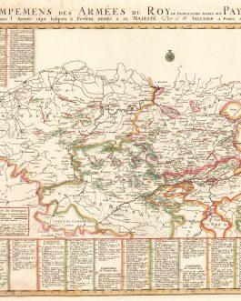 BELGIUM: Les campemens des armées du roy dans les Pays-Bas depuis l'année 1690 jusques à present. Dediés a sa Maieste Par le Sr. Vaultier, A Paris 1698.