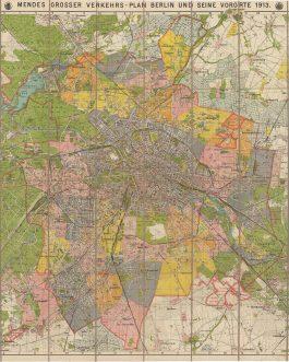 BERLIN: Mendes Grosser Verkehrs- Plan Berlin und seine Vororte 1913.