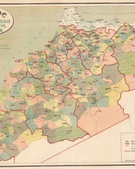 MOROCCO: Maroc au 1,500.000e. Carte des Bureaux de l'Etat-Civil Marocain.