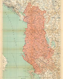ALBANIA: Karte des Fürstentums Albanien.