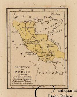 PERU and BOLIVIA / JESUITS: Province de Pérou Contenant 2 Collèges, 1 Mais. Prof. 1 Noviciat, 4 Séminaires, 3 Résidences, Plusiers Missions et 526 Jésuites.