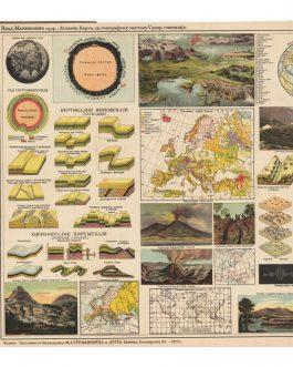Атласна Карта (Физичка географија) за више разреде средњих и других школа. Atlasna Karta (Fizička geografija) za više razrede srednjih i drugih škola [Atlas map (Phiysical Geographz) for highschools…].