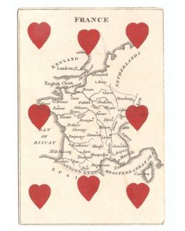 France – CARTOGRAPHIC PLAYING CARD: 'France' from The Court Game of Geography.