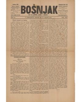 MUSLIM BOSNIAK NEWSPAPER: Bošnjak. List za politiku, pouku i zabavu [Bosniak. Paper for Politics, Education and Entertainment].