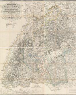 BADEN-WÜRTTEMBERG: Neueste Karte von dem Königreich Würtemberg und dem Großherzogthum Baden mit den inclavirten Fürstenthümern Hechingen und Sigmaringen