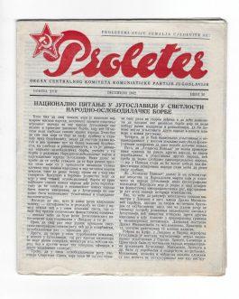 SERBIAN UNDERGROUND PARTISAN MAGAZINE: Proleter. Organ Centralnog komiteta Komunističke partije Jugoslavije [Organ of the Central Committee of the Communist Party of Yugoslavia].