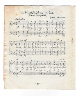 MUSICAL SCORES – PARTISAN UNDERGROUND PRINTING: Gregorčičeva pesmarica. 7 moških in mešanih zborov [Gregorčič's Song Book. 7 Male and Mixed Choirs].