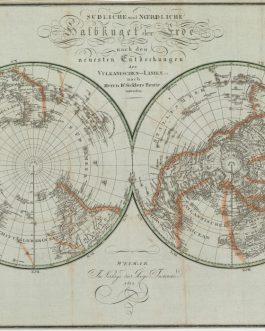 VOLCANISM WORLD MAP: Südliche und Noerdliche Halbkugel der Erde nach den neuesten Entdeckungen der Vulkanischen-Linien.