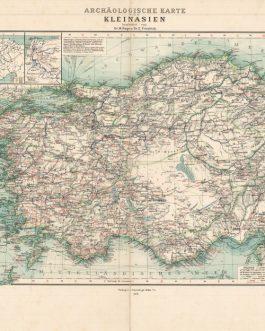 ARCHAEOLOGICAL MAP OF TURKEY: Archäologische Karte von Kleinasien.