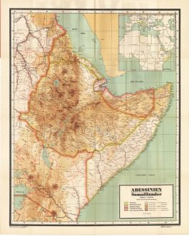 ETHIOPIAN EMPIRE / ABYSSINIA: Neue Karte von Abessinien und Somaliländern.