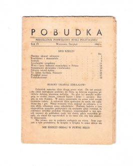 POLISH UNDERGROUND MAGAZINE: Pobudka. Miesięcznik poświęcony myśli politycznej [Incentive. Monthly magazine devoted to political thought]. Year IV.