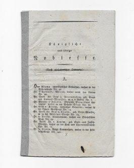 BERLIN, ADDRESS BOOK OF NOBLEMEN: Königliche und übrige Noblesse (Nach alphabetischer Ordnung).