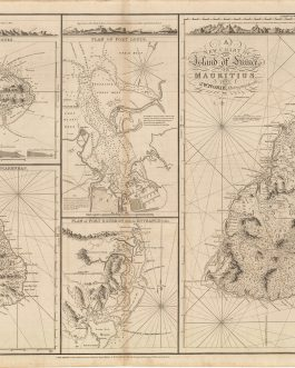 MAURITIUS / RÉUNION / RODRIGUES / MASCARENE ISLANDS: [5 Charts on 1 Sheet:] A New Chart of the Isle of France or Mauritius [and] Plan of Port Louis [and] Plan of Port Bourbon with its Entrances, &c. [and] The Island of Bourbon, called also Mascarenhas [an