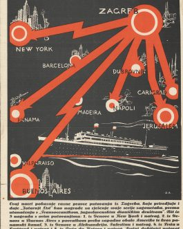 "CROATIAN ART-DECO MAP: Putovanja ""Jutranjeg lista"" [Travels of ""Jutranji list""]."