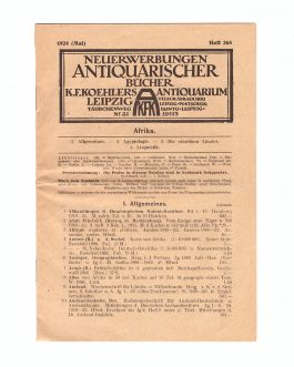 AFRICANA – ANTIQUARIAN BOOK CATALOGUE: Neuerwerbungen Antiquarischer Bücher K. F. Koehlers Antiquarium, Leipzig [New Acquisitions of the Antiquarian Books of K. F. Koehler's Antiquarian Book Store].