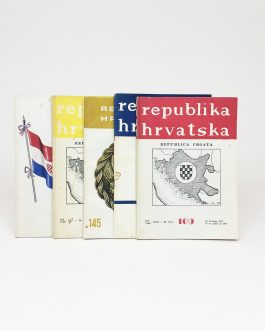 CROATIAN PRINTING IN ARGENTINA: Republika Hrvatska. Republica Croata. [Republic Croatia]. No. 44 (1960), No. 104 (1976), No. 109 (1977), No. 130 (1981), No. 145 (1984).