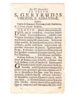ZAGREB IMPRINT: Die XV. Novembri in festo S. Gertrudis Virginis & abbatissae