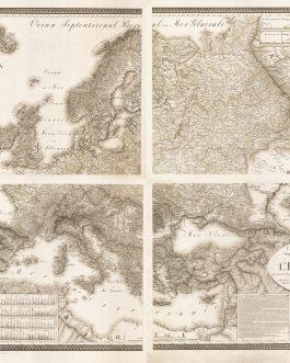 EUROPE – OROGRAPHIC-HYDROGRAPHIC MAP / THEMATIC CARTOGRAPHY: Carte Générale Orographique et Hydrographique de l'Europe qui montre les principales ramifications des montagnes, fleuves at chemins, avec les principales villes, dressée d'après les meilleures