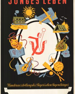 GERMAN MID-CENTIRY DESIGN – POSTER: Junges Leben. Wanderausstellung des Bayerischen Jugendringes [Young Life. Hiking Exhibition of the Bavarian Youth Association].