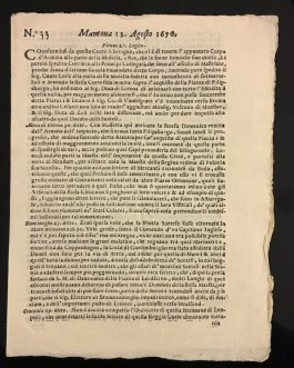 MANTUA / MANTOVA NEWSPAPER, 1676: Mantoua 13. Agosto 1676. Nr. 33