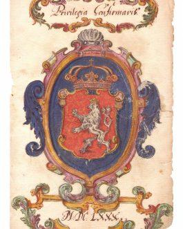 BOHEMIAN ROYAL COAT OF ARMS – LEOPOLD I: Privilegio Confirmavit. MDCLXXX