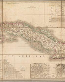 CUBA: Carta topografica de la Isla de Cuba compuesta par A.H. Dufour geografo.