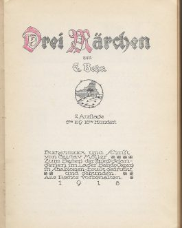 JAPANESE POW CAMP PRINTING – GERMAN-ASIAN FINE ART PRINTING – CHILDREN'S BOOKS: Drei Marchen [Three Stories].