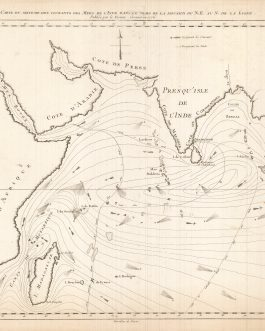 PASSAGE TO INDIA / THEMATIC MAPPING / INDIAN OCEAN / HYDROLOGY / IMPORTANT ENLIGHTENMENT CARTOGRAPHY: Carte du Sisteme des Courants des Mers de l'Inde dans le Tems de la Mousson du N.E. au N. de la Ligne. Publiée par le Vicomte Grenier.