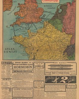 WWII / PLANNED ALLIED INVASION OF FRANCE / PICTOGRAPHIC MAP: [Untitled Map showing the Proposed Routes for an Allied Invasion of Nazi Occupied North-Western Europe…Cumhuriyet, 5 Birinciteşrin 1943].