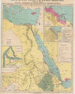 RED SEA  / ITALIAN COLONIAL VENTURES – ERITREA / ETHIOPIA / DJIBOUTI / SUDAN / YEMEN / SAUDI ARABIA: Carta del Mar Rosso e del Sudan orientale pubblicata per cura della Sezione Cartografia della Società Africana d'Italia.