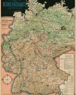 GERMANY, post II WW Map. Atlanta Reise und Transport Verkehrskarte Deutschland