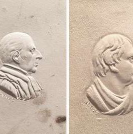 A SET OF 8 MINIATURE EMBOSSED (RAISED RELIEF) PORTRAITS ON CARD OF BRITISH LUMINARIES