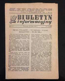 UNDERGROUND PRINTING – POLAND – WWII: Biuletyn Informacyjny. Year. VI, Nr. 6 (213). [Information Bulletin]