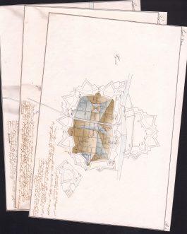 """BEFESTIGUNGEN: Befestigungslehre nach der """"Schule von Mézières"""" – Konvolut mit zehn Manuskriptplänen und zwei Radierungen"""