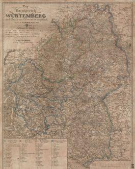 BADEN-WÜRTTEMBERG: Das Koenigreich Würtemberg nach Kreisen und Oberämtern eingetheilt. C. F. Hammer, Major. 1823